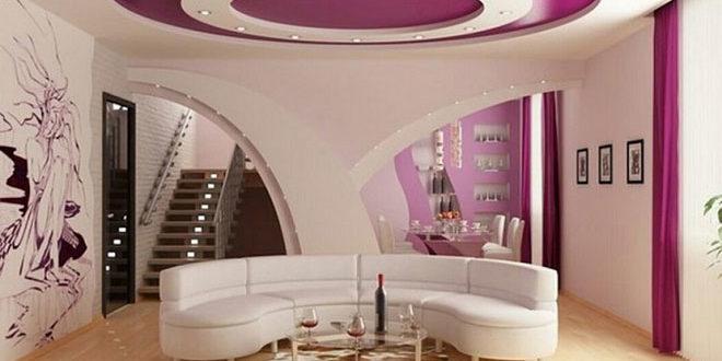 Лавандовый двухуровневый натяжной потолок в гостиной