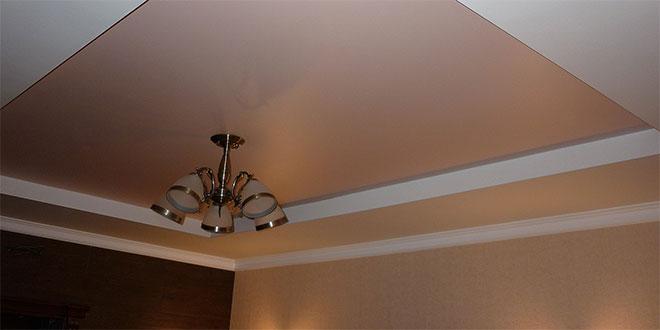 Сатиновый двухуровневый натяжной потолок