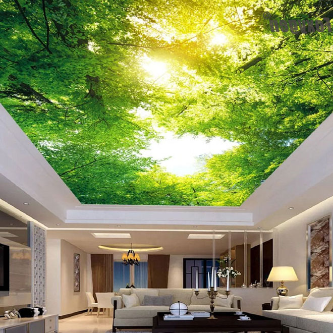 """3д натяжной потолок """"лиственный лес"""""""