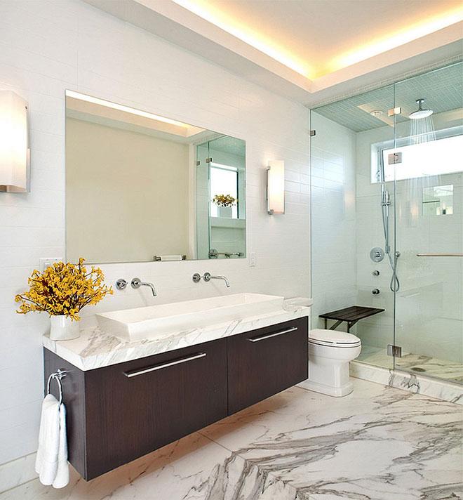 Освещение в ванной с натяжным потолком