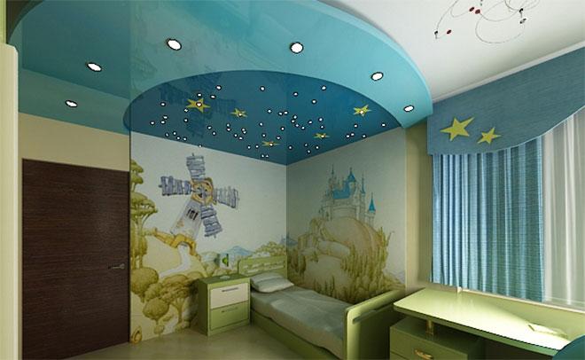 Освещение в детской с натяжным потолком