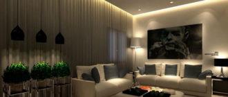 парящий натяжной потолок с подсветкой в гостиной
