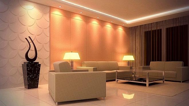 Вариант размещения освещения в гостиной