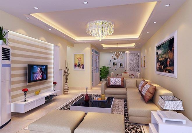 Комбинированная подсветка в гостиной с натяжным потолком