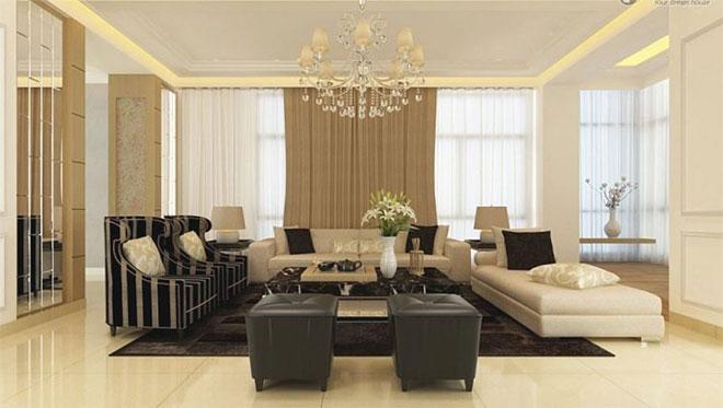 Светлый натяжной потолок в гостиной