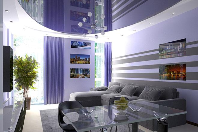 Комбинированный сине-белый натяжной потолок в гостиной
