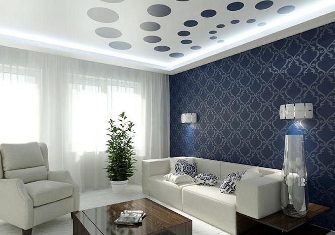 Перфорированный парящий потолок в гостиной