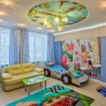 Круглый натяжной потолок с рисунком для мальчика