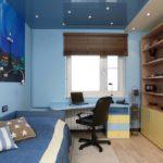 двухуровневый натяжной потолок в комнате подростка