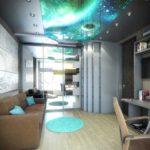 """натяжной потолок """"космос"""" в подростковой комнате"""