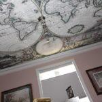 """Натяжной потолок с рисунком """"карта мира"""""""