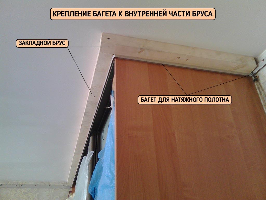 натяжной потолок вокруг шкафа с внутренним багетом