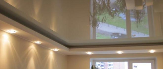 Комбинированный потолок: натяжной и гипсокартон по периметру