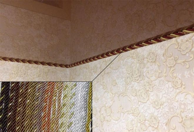 Шнур в качестве заглушки для натяжного потолка