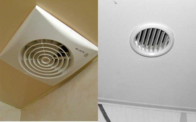 Вентилятор и вентиляционная решетка в натяжном потолке